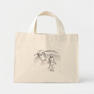 Sketch, skull man flying bird horror drawing mini tote bag