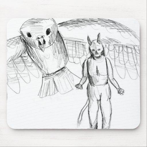 Sketch, skull man flying bird horror drawing mousepad