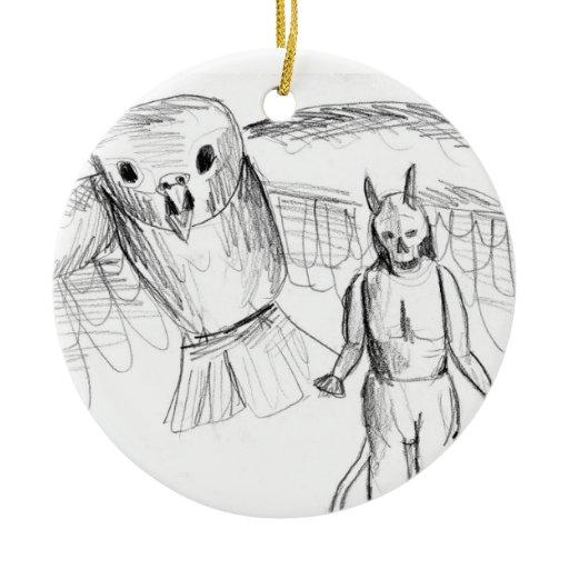 Sketch skull man flying bird horror drawing ornament