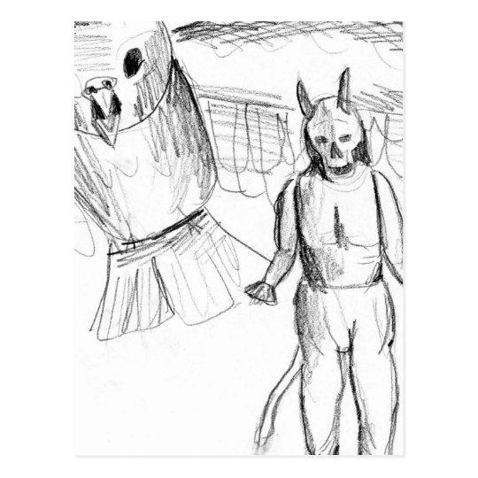 Sketch, skull man flying bird horror drawing postcard
