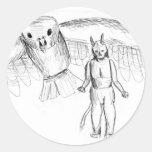 Sketch, skull man flying bird horror drawing round sticker