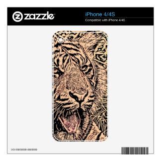 sketch tiger sepia decal for iPhone 4