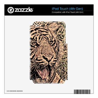 sketch tiger sepia iPod touch 4G decal