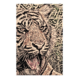 sketch tiger sepia customized stationery