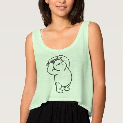 Sketch Winnie the Pooh 1 Flowy Crop Tank Top