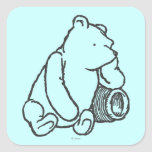 Sketch Winnie the Pooh 2 Square Stickers