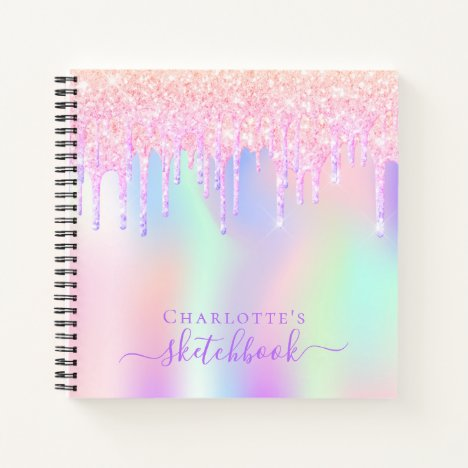 Sketchbook glitter drips holographic unicorn pink notebook