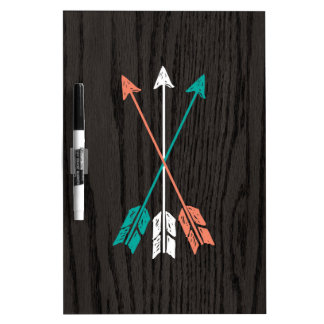 Sketched Arrows On Woodgrain Dry-Erase Board