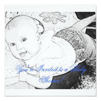 Sketched Baby Shower Invitation blue print