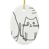 Sketched Cats Ceramic Ornament