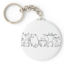Sketched Cats Keychain
