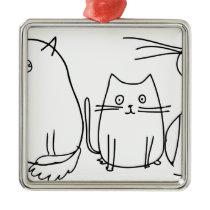 Sketched Cats Metal Ornament