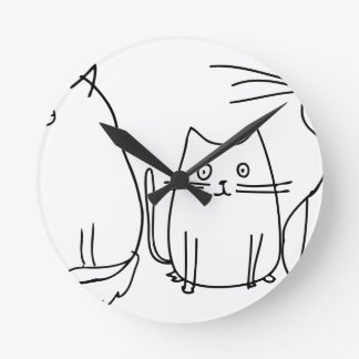 Sketched Cats Round Clock