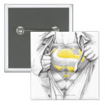 Sketched Chest Superman Logo 2 Inch Square Button