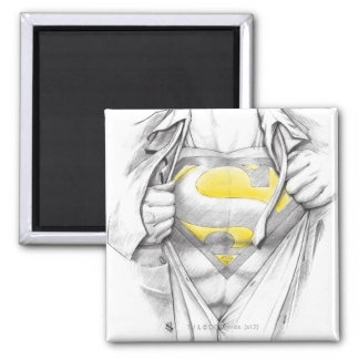 Sketched Chest Superman Logo 2 Inch Square Magnet