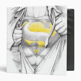 Sketched Chest Superman Logo 3 Ring Binders