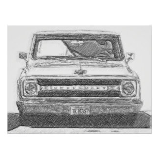Sketched Chevy Truck Poster