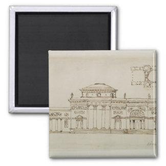 Sketched design for a domed building (pen & ink) magnet