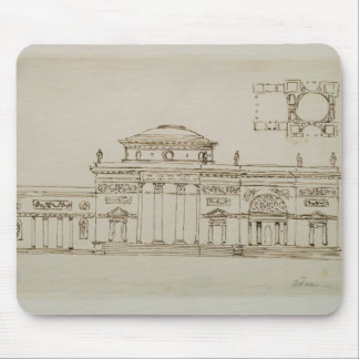 Sketched design for a domed building (pen & ink) mouse pad