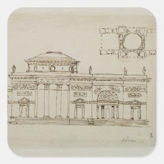 Sketched design for a domed building (pen & ink) square sticker