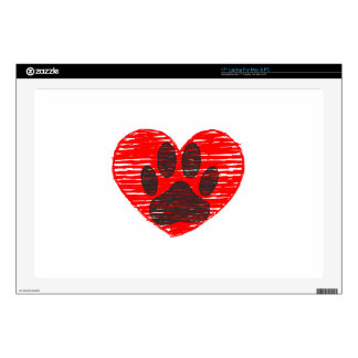 """Sketched Dog Paw In Red Heart 17"""" Laptop Skins"""