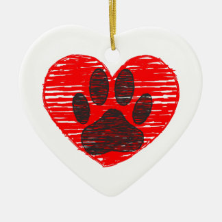 Sketched Dog Paw In Red Heart Ceramic Ornament