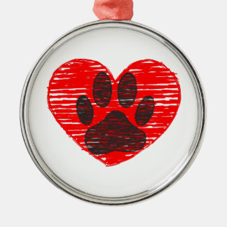 Sketched Dog Paw In Red Heart Metal Ornament