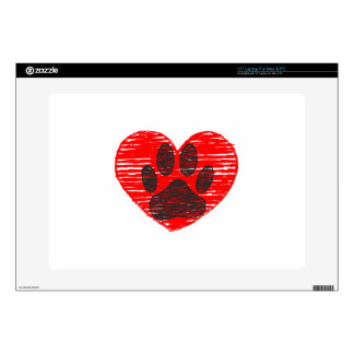 Sketched Dog Paw In Red Heart Skin For Laptop