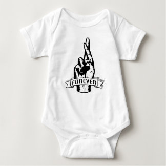 Sketched Fingers Crossed Forever Funny Graphic Baby Bodysuit