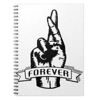 Sketched Fingers Crossed Forever Funny Graphic Notebook