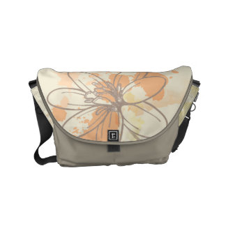Sketched Floral on Watercolor Splats Small Messenger Bag