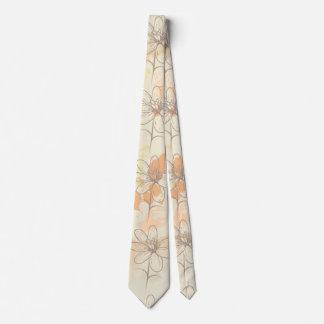 Sketched Floral on Watercolor Splats Tie