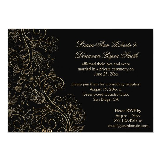 Sketched Gold Swirls Flowers on Black Wedding Invitation