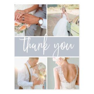 Sketched Grey | Wedding Photo Thank You Postcard