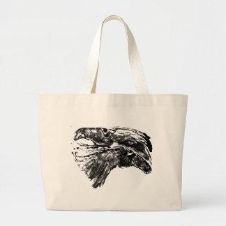 Sketched Horses Large Tote Bag