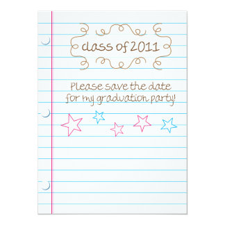 Sketched Loose Leaf Graduation Party Save the Date Card