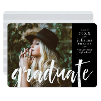 Sketched Overlay Graduation Party Invite | Black