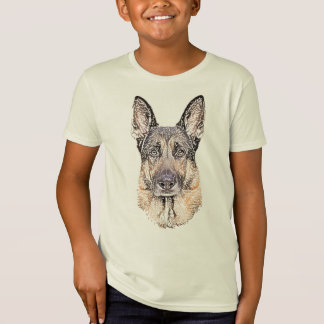 Sketched Portrait of a German Shepherd Dog T-Shirt
