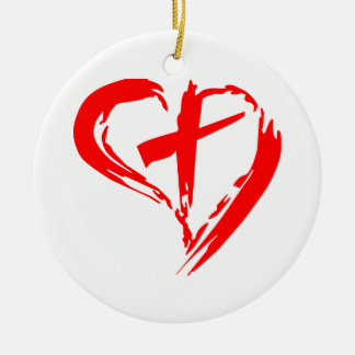 Sketched Red Heart and Cross Ceramic Ornament
