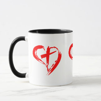 Sketched Red Heart and Cross Mug