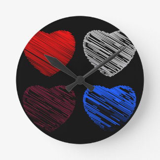 Sketched red heart round clock