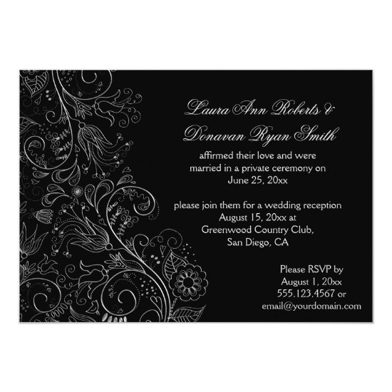 Sketched Silver Swirls Flowers on Black Wedding Invitation