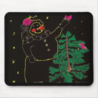 Sketched Snowman with Christmas Tree Mouse Pad