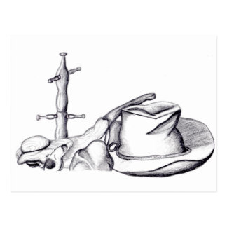 Sketched Still life hat, cup rack, bone and stone Postcard