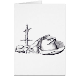 Sketched Still life hat, cup, stone and cup rack Card