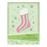 sketched stocking Pink Christmas Postcards