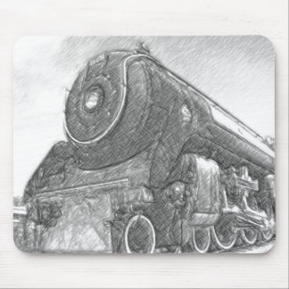Sketched Train Engine Mouse Pad