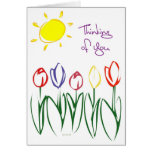 Sketched Tulips-Thinking Greeting Card