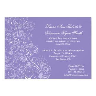 Sketched White Swirls Flowers Lavender Wedding 5x7 Paper Invitation Card