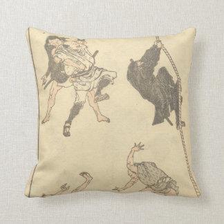Sketches of Japanese Martial arts, Ninja c. 1800's Pillow